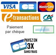 Paiement sécurisé CB, Visa, Mastercard, payez en 3x sans frais par CB, paiement par chèque